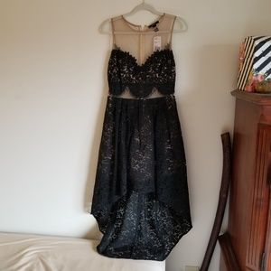 New Black and nude high/low cocktail dress size L